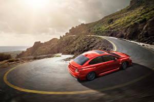 Фото Subaru Дороги Горы Красная 2014 WRX Автомобили