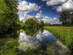 Фото Англия Речка Вода Трава Itchen Winchester Природа