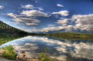 Картинки Канада Парки Озеро Пейзаж Облака HDRI Джаспер парк Piramid