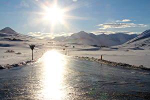 Обои Исландия Пейзаж Гора Солнце Снег Лед Природа