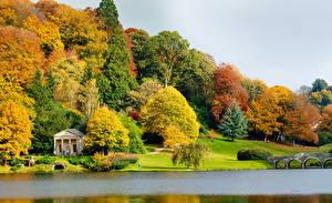 Фотография Англия Сады Река Деревьев Stourhead Wiltshire Природа