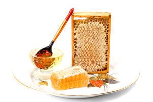 Фотография Сладкая еда Мед Пчелиные соты Ложка Тарелке Еда