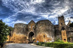 Фото Франция Крепость Небо HDR Domme Города