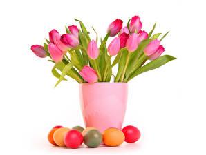 Картинки Праздники Пасха Тюльпаны Яйцами Вазе Розовый цветок