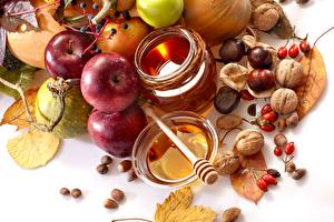 Картинки Яблоки Мед Орехи Листва Банка Пища