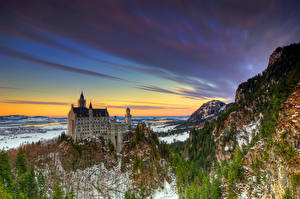 Обои Германия Замок Зима HDR Neuschwanstein город