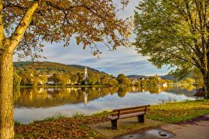 Фотография Германия Здания Реки Пейзаж Скамейка Mosel Города Природа