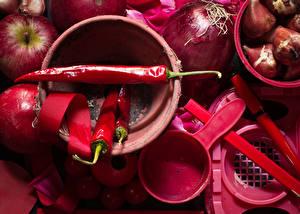 Картинки Перец Лук репчатый Яблоки Вблизи Острый перец чили Красных Продукты питания