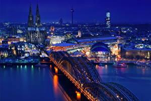 Фотография Германия Дома Мост Реки Кёльн Ночь
