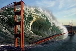 Картинка Апокалипсис Волны Мост Катастрофы Вода Фэнтези