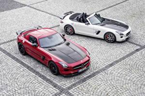 Картинки Mercedes-Benz Тюнинг Красный Белый Кабриолет Вдвоем Родстер 2013 SLS63 AMG GT roadster Машины