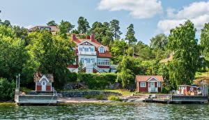 Обои Швеция Дома Реки Пристань Стокгольм Nacka Города