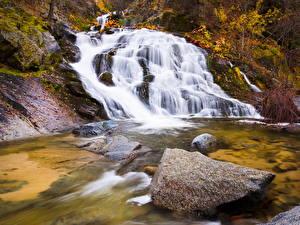 Обои США Водопады Камни Калифорния Природа фото