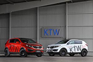 Фото KIA Стайлинг Двое Белые Красный 2013 Sportage Автомобили