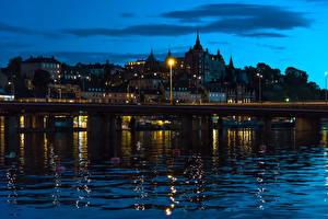 Фотографии Швеция Здания Реки Мосты Вода Стокгольм Ночь