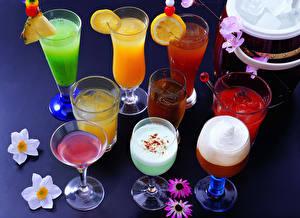 Фото Напитки Сок Лимоны Коктейль Бокалы Еда