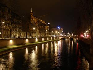 Фотография Франция Дома Речка Страсбург Ночные