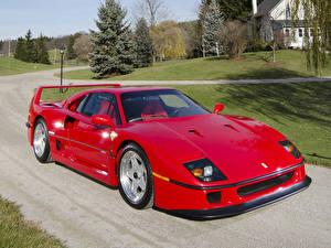 Фотография Ferrari Ретро Дороги Красный 1987 F40 Авто