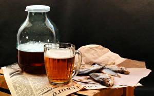Фотографии Напитки Пиво Рыбы Кружке Банка Продукты питания