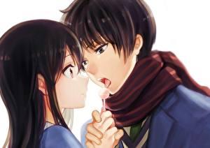 Картинка Любовь Двое Юноша Kyoukai no Kanata, nase hiroomi, nase mitsuki Аниме Девушки