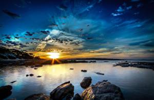 Картинка Австралия Речка Рассветы и закаты Небо Lincoln Природа
