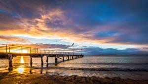 Фотографии Австралия Море Пирсы Рассветы и закаты Небо Побережье Природа