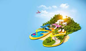 Фотография Тропики Курорты Бассейны 3D_Графика