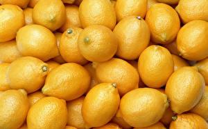 Картинки Цитрусовые Лимоны Много Вблизи Желтый