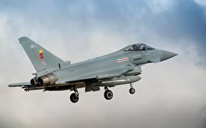Обои Самолеты Истребители Взлет Eurofighter Typhoon Авиация фото
