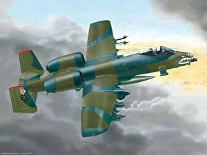 Картинка Самолеты Рисованные A-10 Thunderbolt II Штурмовики