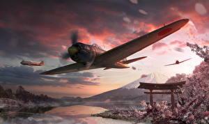 Картинки World of Warplanes Самолеты Летящий Японские Игры Авиация