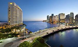 Обои США Дома Небоскребы Реки Мосты Майами Ночь Города фото