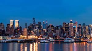 Фотографии Штаты Небоскребы Река Пирсы Нью-Йорк Ночные Мегаполиса Города