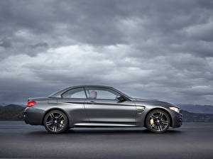 Картинка BMW Серый Сбоку Облака 2014 M4 F32 cabriolet Автомобили