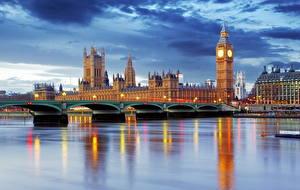 Фото Великобритания Реки Мосты Дома Небо Лондон Биг-Бен город