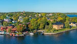 Фото Швеция Здания Реки Стокгольм Vaxholm город