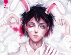 Обои Рисованные Bunnygirl Глазная повязка Кровь Ушки кролика Аниме Девушки