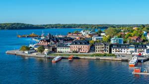 Фотографии Швеция Дома Речка Стокгольм Vaxholm