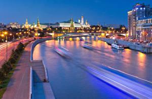 Обои Россия Москва Здания Реки Ночь Пречистенская набережная город