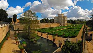 Обои Италия Парк Особняк Кустов Дизайн Плавательный бассейн Roma Villa Doria Pamphili