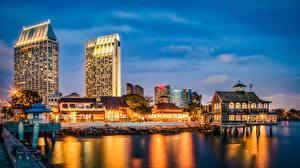 Фото США Дома Пристань Сан-Диего Ночью Города