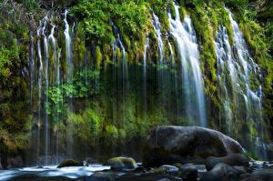 Обои США Водопады Камни Калифорния Mossbrae Falls Природа фото