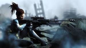 Картинка Воители Снайперская винтовка StarCraft StarCraft 2 Сара Керриган Девушки
