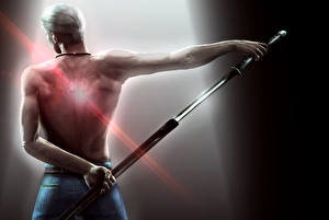Картинка Devil May Cry Мужчина Воители Меч Спина Vergil компьютерная игра