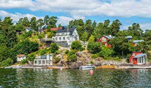 Фотографии Швеция Здания Река Стокгольм Деревья