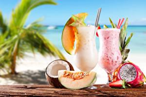 Картинка Напитки Коктейль Кокосы Дыни Стакана Продукты питания