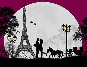 Фотографии Векторная графика Любовь Париж Эйфелева башня Луна