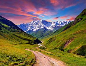 Фотография Пейзаж Горы Дороги Траве Природа
