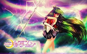 Картинки Sailor Moon Магия Волос Посохи Setsuna Meiou, Sailor Pluto Dead-Scream Девушки