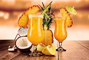 Обои Напитки Коктейль Ананасы Кокосы Стакан Продукты питания